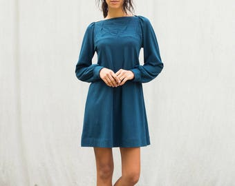 Sale, Medium, Folded Swing Dress with Long Sleeves, women's dress, jersey dress- ready to ship