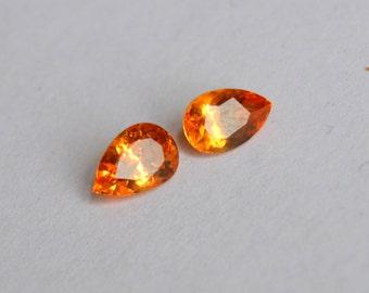 Mandarin Garnet, Spessartite Garnet, 7x5mm Garnet, Loliondo Mines Garnet, Garnet Matched Pair, Garnet Pears, Orange Garnet