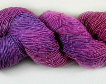 Pink Lilac Hand-dyed Superwash Merino/Lurex Yarn, fingering weight