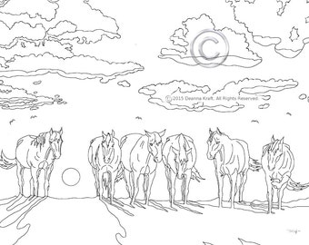 Coloring Page, Horse, Kids Coloring Page, Sleepy Sunset, Horses at Sunset, Sunrise