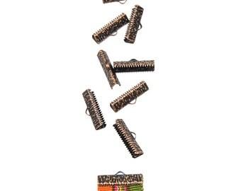 50 pcs.  22mm (7/8 inch)  Antique Copper Ribbon Clamp End Crimps - Artisan Series