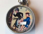 Vintage erotic automaton pocket watch. The Librarian