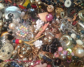 VINTAGE JEWELRY DESTASH / 300+ pc. / single earrings / pendants / mixed-media supplies /  parts /  assemblage/ collage / jewelry making