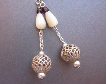Mother of Pearl Silver Filigree Dangle Drop Earrings