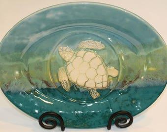 Sea Turtle. Turtle. Turtles. Large. Oval. Wedding Gift. Couples Gift. Beach. Ocean. Sea. Wedding. Blue. Unique. Handmade. Big Dog Pots.