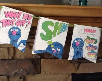 the monster at the end of the book bunting; grover sesame street bunting