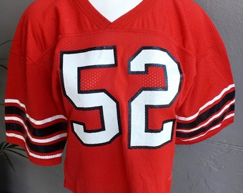 1980s #52 red and black vintage football jersey size small