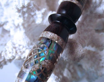 "The ""Modified Princess"" Hair Stick Featuring African Blackwood Inlaid with Natural Paua Shells and Abalone Shells"
