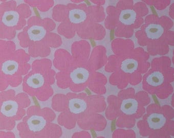 Marimekko vintage MINI UNIKKO cotton fabric light pink light green Maija Isola  tillukka