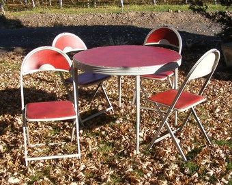 Round Folding Table and Chairs by Durham Table Number 5135 Red and Gray Metal Table Chairs Round Card Table