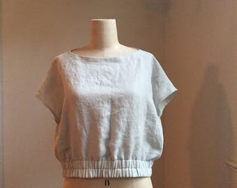 Linen Cropped Top, Loose Fitting