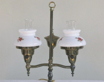 Vintage Petite Brass Student Desk Lamp, Small Double Vanity Light with Milk Glass Shades Painted Roses, Mid Century Lighting