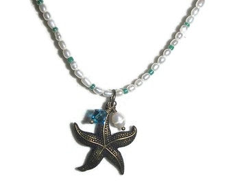 Tiny Freshwater Seed Pearl Necklace Starfish Crystals