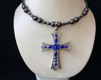 Blue rhinestone cross pendant magnetic hematite memory wire choker necklace