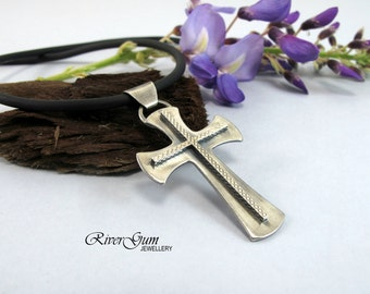 Sterling Silver Cross Pendant, Simple Silver Cross Necklace, Unisex Sterling Silver Cross, Christian Jewelry, RiverGum Jewellery