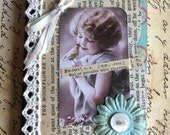 Enjoy Themed Vintage Style Pocket Journal Featuring Image of Child with Bird