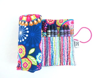 Crayon Roll - Tribeca - flower crayon holder, toddler gift, girls gift, preschool coloring, kids journaling