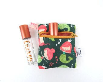 Mini Essential Oil Bag - Mermaid - roller bottle case travel case essential oil storage IEM case, earbud holder, rollerball, lip balm holder