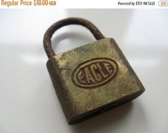 Holiday Sale. Industrial Chic. Eagle Lock.  Vintage Brass Lock.