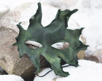 Red Oak Split Leather Leaf Mask, Green Leaf Split Leather Masquerade Mask