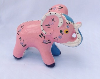 Vintage pink and blue patchwork elephant figurine. Ceramic. Knick knack.