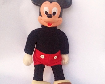 "Vintage Walt Disney 16"" Marching Mickey Mouse plush plastic upright doll"