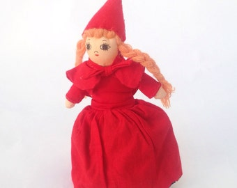 "Vintage 7"" Little Red Riding Hood topsy turvy girl doll grannie grandmother wolf Salco Harlow"