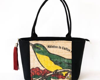 Recycled Coffee Bag - Akialoa Bird Purse - zip top closure
