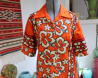 Hawaiian Shirt Ui Maikai Women's VINTAGE 1960s Cabana Cotton size Medium VINTAGE by Plantdreaming