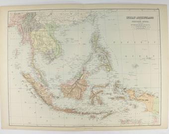Old East Indies Map, Siam, Anam Map 1884 A C Black Map Indian Archipelago, Malaysia Map Singapore, Borneo Map Java Sumatra Antique Map Art