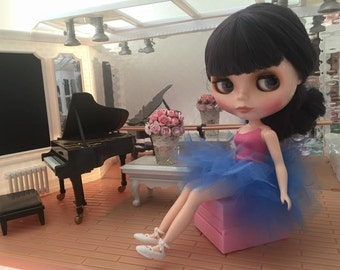 Tutu for Blythe in Royal Blue works with Pullip, BJD and other 1/6th scale  Dolls