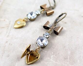Heart Earrings, Heart Locket Earrings, Rhinestone Earrings, Bow Earrings, Holiday Jewelry, Vintage Locket
