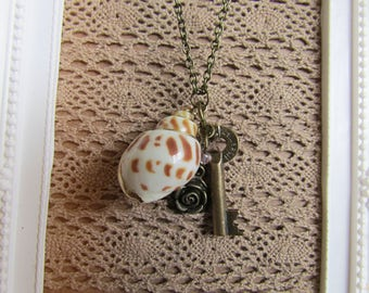 Summer Time Pendant, Up Cycled Vintage, Shell and Key Steampunk, Mori, Mori Girl, Necklace OOAK