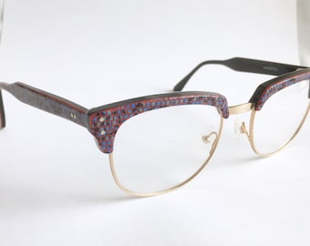 Vintage 1980's Red Blue Mosaic Michelle Lamy for Victor Gros Browline Eyeglasses