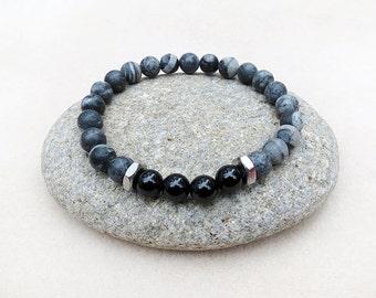Men's Black Onyx and Gray Stone Bracelet Mala Style, Stainless Steel Focal, Stretch Bracelet, Zen Yoga Meditation, Handmade Jewelry for Men