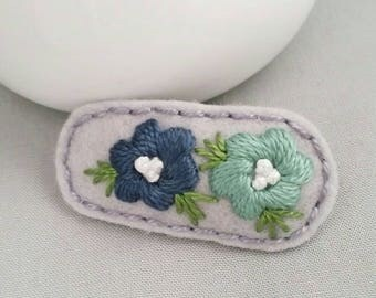 Snap Hair Clip, Felt Embroidered flowers  Snap Hair Clip, Hair Clip, Girls Hair Clips,Silver Grey Navy Blue Green