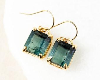 Gold Bi-Colour Tourmaline Earrings - Teal Blue & Black Tourmaline - 14Kt GF