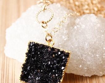50% OFF Gold Druzy Necklaces - Square Druzy Pendants - Black, Grey, Mauve Druzy
