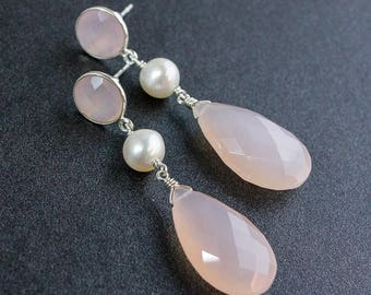 ON SALE Bridal Pink Chalcedony Earrings - Pink Chalcedony and White Fresh Water Pearls