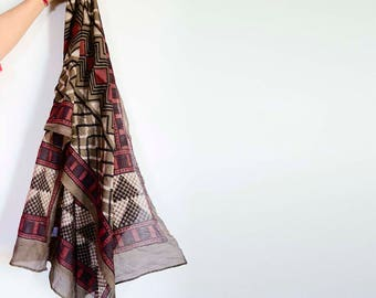 maroon womens scarf multi color cotton hand dyed scarf handmade Block Print wrap natural dye ichcha accessories gift for her - Babu III