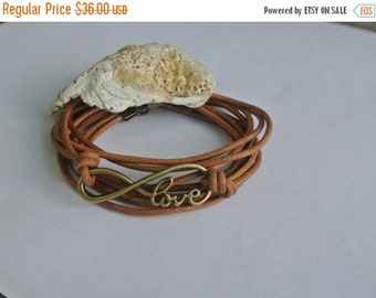 SALE 25% OFF Amour Love Natural Leather Brass Wrap Bracelet