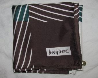 Vintage Jean Pierre Square Silk Scarf  - Rich Brown, Dark Green Stripes - Menswear Look - Hand Rolled Hems