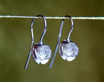Rose Flower Earrings, Sterling Silver Drop Earrings, Flower Dangle Earrings, English Rose, Rosebud, Flower Gift, Flower Girl, Handmade in UK