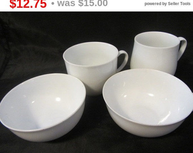 4 Assorted White China Cups, Serving Cups, Crafting Cups, Replacement Cups, China Cups, Modern China Cups and Bowls, Breakfast Serving Set