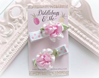 Pink Satin Flower Hair Clips, Flower Clips, Hair Clips For Piggy Tails, Flower Girl Clips, Spring Flower Hair Clips, Toddler Hair Clips,
