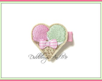 Ice Cream Cone Hair Clip, Summer Hair Clips,  Ice Cream Hair Clip, Double Scoop Ice Cream Clip, Girls Ice Cream Hair Clip, Ice Cream Clip
