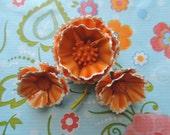 vintage enamel flower pin 60s mod orange floral brooch and earrings set