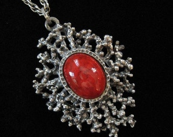 Red Art Glass Brutalist Abstract Modern Pendant Necklace 1970s