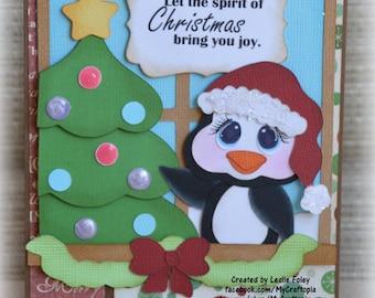 Penguin Christmas Tree Handmade Paper Piecing 3D Greeting Card