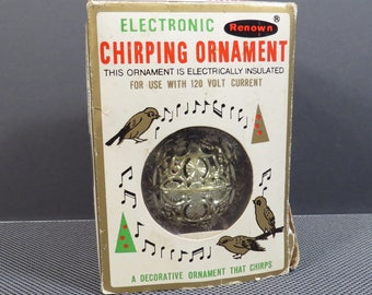 Electronic Chirping Ornament Kitschy Vintage 1970s Renown Decorative Musical Ornament That Chirps